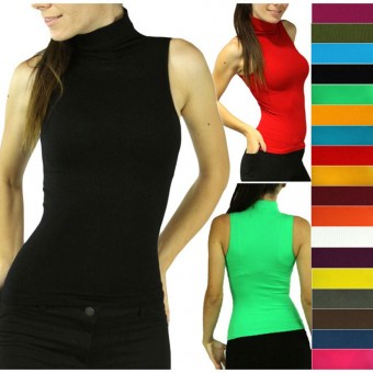 Sexy Seamless Ribbed Sleeveless Mock Neck Turtleneck Shaping Tank Top