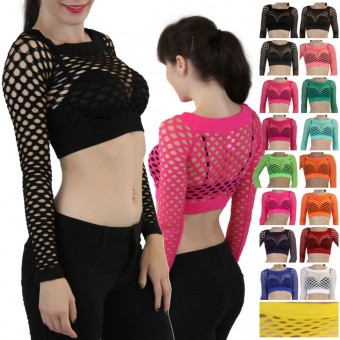 Sexy Long Sleeve Fishnet Shirt Women Tops Blouse GoGo Dance Wear - One Size
