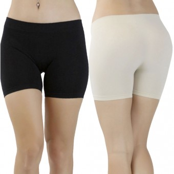 Nylon Microfiber Compression Exercise Mid-Thigh Shorts - One Size