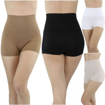 Seamless Stretchy Nylon High-Waisted Slimming Brief Shapers - One Size