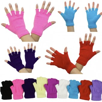 6 Pairs of Colorful Fingerless Fuzzy Winter Half-Gloves - One Size