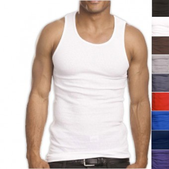 Top Quality 100% Premium Cotton Mens A-Shirt Ribbed Tank Top Muscle