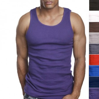 3 Pairs of Quality 100% Cotton Mens A-Shirt Ribbed Tank Top Undershirt Vest -  -