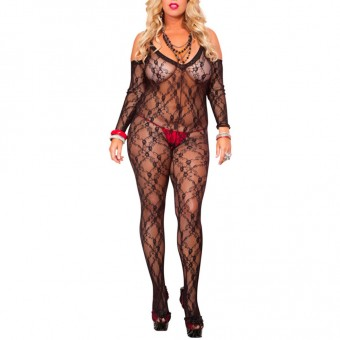 Lace Crotchless Bodystocking w/ Long Arm Warmer Color: Black