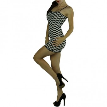 Checkered Mini-dress Color: White/Black