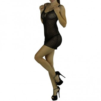 Daisy lace up front Chemise Color: Black