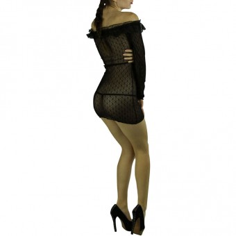 Lace ruffle, off the shoulder, L/S dress with G-string Color: Black