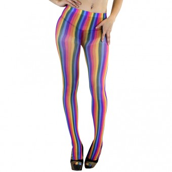 ToBeInStyle Women's Costume Rainbow Striped Tights  - Rainbow - One Size