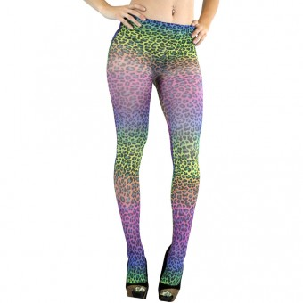ToBeInStyle Women's Rainbow Leopard Stocking Tights - Rainbow - One Size