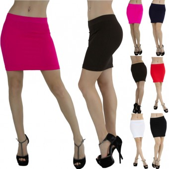 Seamless Microfiber Slim Nylon Pull-On Closure Mini Skirt