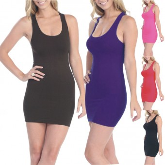 Microfiber Seamless Scoop Neck Racerback Summer Slip Dress