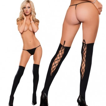 Opaque Black Thigh High With Keyhole Back Satin Bows And Rhinestone