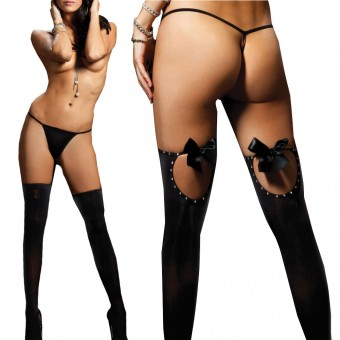 Opaque Thigh High With Keyhole Back Satin Bows And Rhinestone Detail