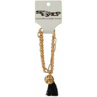 Gold-Tone Chains and Tassel Bracelet