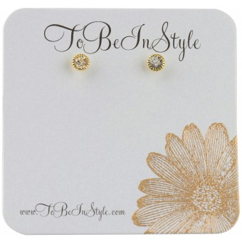 Fashionable Goldtone Encrusted Crystal Stud Earrings