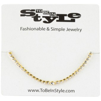 Chained Crystal Embedded Gold-Tone Necklace