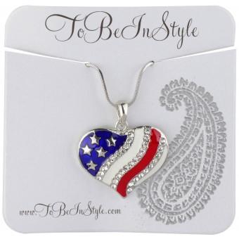 Beautiful American Flag Heart Pendant Necklace