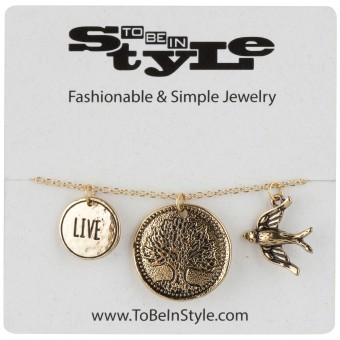 Peaceful Gold-Tone Live Tree Bird Triple Pendant Necklace