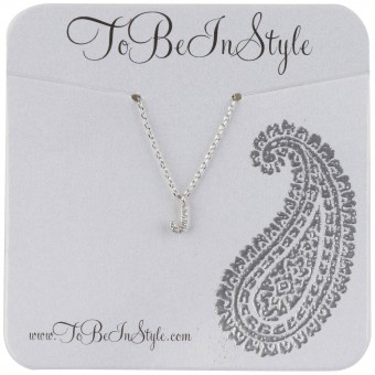 Simple Silver-Tone Crystal Hook Pendant Necklace