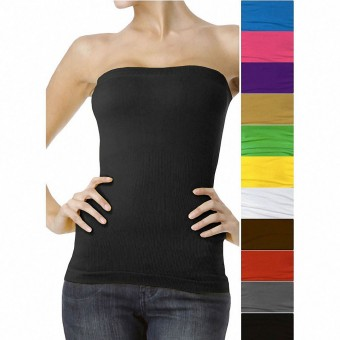 Sexy Seamless Ribbed Shaping Tank Bandeau Tube Top Without Padding