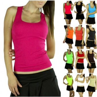 Ribbed Seamless Nylon Casual Full-Lace Back Racerback Slimming Top
