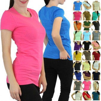 Comfy Soft Knit Shortsleeve Crewneck T-Shirt Top Blouse Long Tunic
