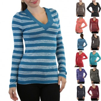 Soft Knit V-Neck Striped Long Sleeve Top
