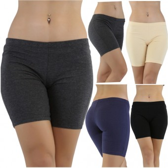 Soft Cotton Mid-Thigh Exercise Shorts