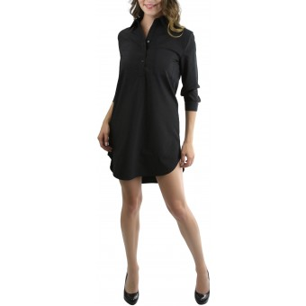 Women's High-Low Button Down Collar Shirt Dress
