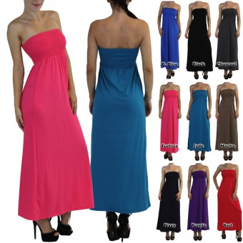 Smocked Long Maxi Strapless Dress