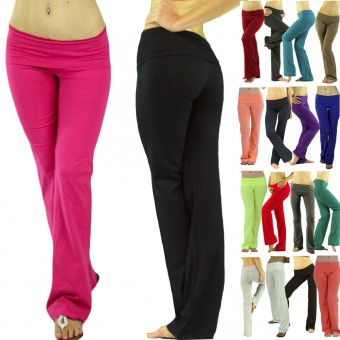 2 Pairs of Soft Stretch-Knit Cotton Blend Fold-Over Waistband Lounge Yoga Pants