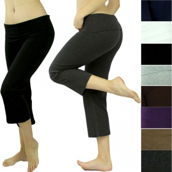 Comfy Soft Foldover Capri Yoga Sweat Track Lounge Gym Sport Pant