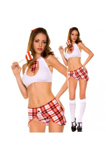 Flirty Naughty Vixen Sexy Key Hole Stretch Top w/ Tie w/ Matching Skirt Panty Halloween Costume Cosplay