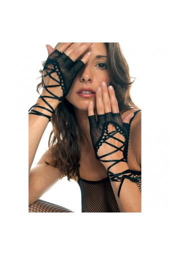 Lace Up Wrist Length Fishnet Fingerless Warmer Halloween Cosplay Costume Accessories