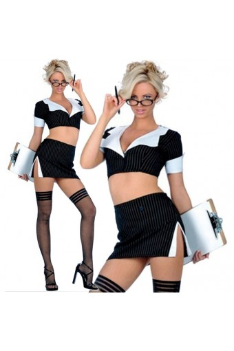 Sexy Naughty Seductive Two Piece Secretary Outfit Set Halloween Costume Cosplay