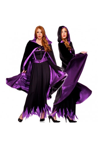 Naughty Evil Hot Vixen One Piece Reversible Velvet Satin Full Length Hooded Cape Halloween Costume
