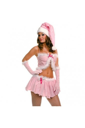Fun Sexy Christmas Two Piece Pink Miss Santa Skirt Set w/ Hat Gloves Costume Cosplay