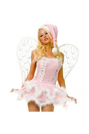Sexy Flirty Exotic Pink Velvet Miss Santa Dress w/ Hat Costume Cosplay Halloween