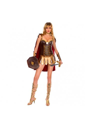 Sexy Fun Roman Gladiator Outfit w/ Cape Neck Piece Cuffs Costume Cosplay Halloween