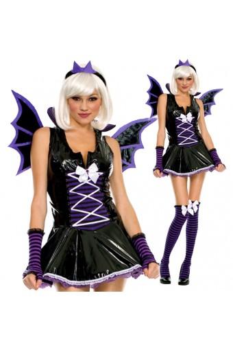 Naughty Sexy Purple Vinyl Bat Costume w/ Wings Head Piece Arm Warmer Cosplay Halloween Outfit