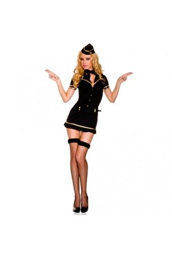 Seductive Sexy Four Piece Gold Trimmed Mile High Club Stewardess Dress w/ Hat Scarf Belt Thigh Hi
