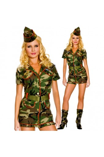 Hot Vixen Thin Red Line Cadet Dress w/ Hat Belt Costume Cosplay Halloween