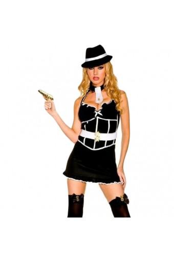 Sexy Flirty Classic Sexy Flirty Classic Sexy Gangster Outfit w/ Hat Neck Tie Toy Gun Cuffs Stockings