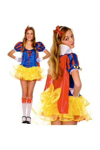 Hot Seductive Sexy Story Book Princess Outfit w/ Headband Gloves Removable Cape Halloween Costume
