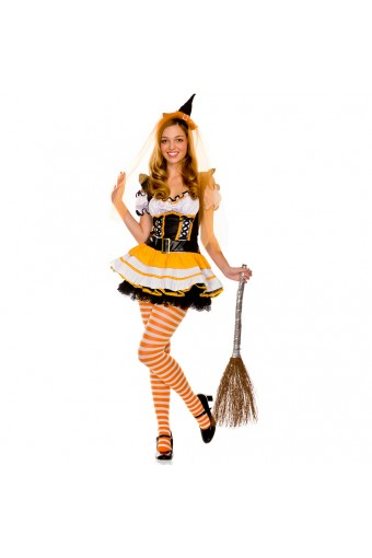 Sexy Naughty Seductive Three Piece Teen Orange Witch Outfit w/ Hat Veil Belt Stockings