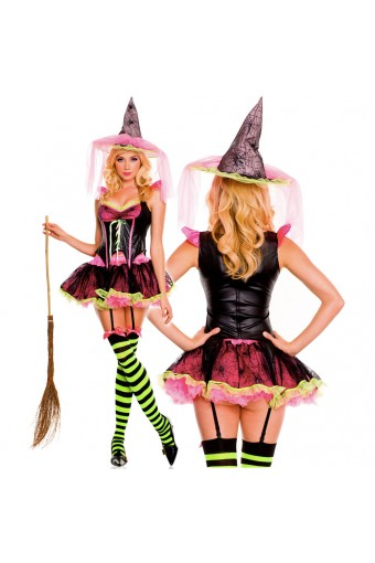 Sexy Naughty Hot Evil Four Piece Corset Style Bodice w/ Tutu Skirt w/ Hat Thigh Hi Halloween Costume
