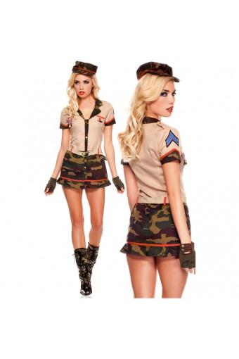 Hot Vixen Three Piece Medallion Army Dress w/ Hat Garrison Belt Costume Cosplay Halloween