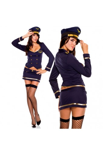 Four Piece Long Sleeve Double Breasted Buttons Gold Trimmed Skirt w/ Hat Thigh Hi