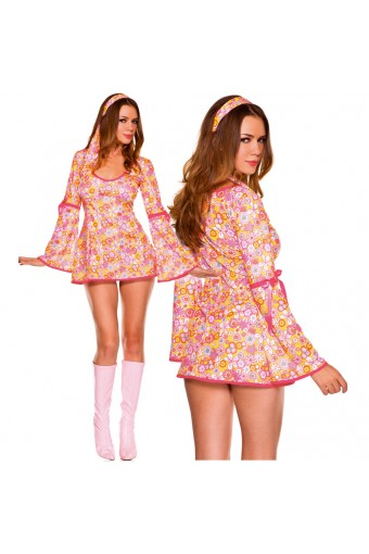 Sexy Flirty 70s Style Sexy Flirty 70s Style Two Piece Floral Long Sleeves Disco Dress w/ Headband