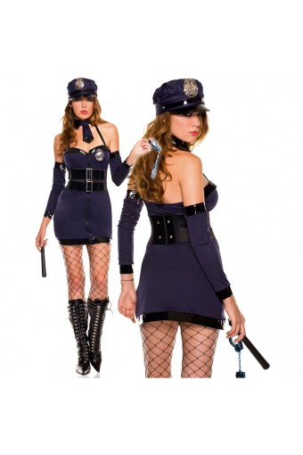Naughty Halter Zip Up Sexy Police Dress w/ Hat Tie Arm Warmer Baton Hand Cuffs Pantyhose Costume